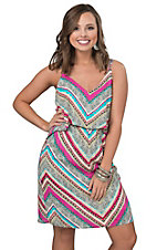 Renee C. Women's Multicolor Stripe with Tiered Top Sleeveless Dress