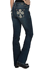 Wired Heart Women's Stud Crystal Cross Flap Pocket Boot Cut Jeans