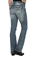 Wired Heart Women's Crystal Stitched Edge Flap Pocket Boot Cut Jeans