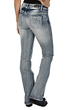Wired Heart Women's Light Wash Paisley Open Pocket Boot Cut Jeans