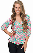 Rene C Women's Mint and Neon Pink Multi Chevron 3/4 Sleeve Fashion Top