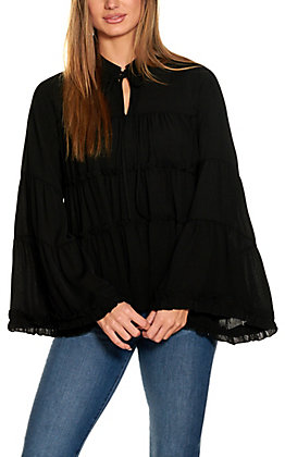 Savanna Jane Black Tiered and Ruffled Long Sleeve Fashion Top
