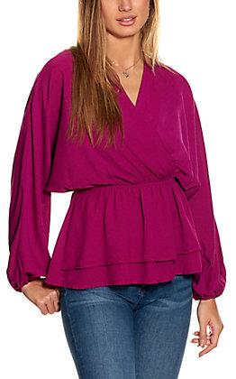 Savanna Jane Magenta V-neck Long Sleeve Fashion Top