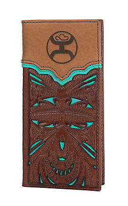 HOOey Brown & Turquoise with Floral Tooling Overlay Rodeo Wallet/Check Book