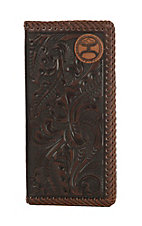 HOOey Brown Floral Tooling with a Stitched Edge Rodeo Wallet/Check Book