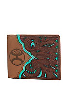 HOOey Tooled w/ Tan, Brown & Turquoise Cut Out Bi-Fold Wallet