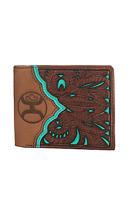 HOOey Tooled with Tan Brown & Turquoise Cut Out Bi-Fold Wallet