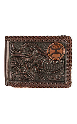 HOOey Brown Floral Tooling with a Stitched Edge Bifold Wallet