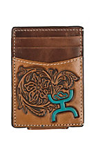HOOey Magnetic Brown with Turquoise Logo Money Clip