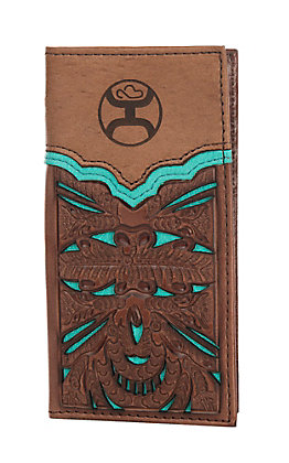 HOOey Brown & Turquoise with Floral Tooling Overlay Jr. Rodeo Wallet/Check Book