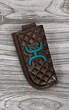 HOOey Dark Brown with Turquoise Logo Knife Sheath