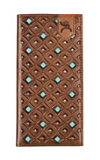 HOOey Brown & Turquoise with Diamond Cutout Rodeo Wallet/Check Book