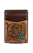 HOOey Roughy Brown Tooled w/ Turquoise Logo Money Clip