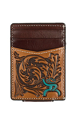 HOOey Roughy Brown Tooled with Turquoise Logo Money Clip
