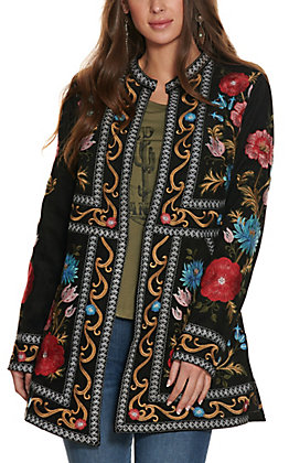 Savanna Jane Black with Floral Embroidery Long Sleeve Cardigan