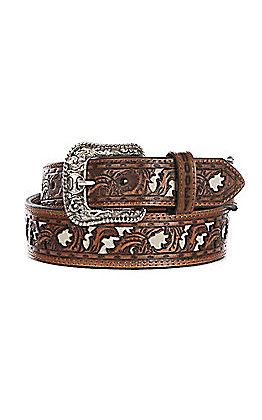 HOOey Men's Wide Taper Bone Cut Out Western Belt
