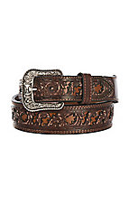 HOOey Men's Wide Taper Cognac Cut Out Western Belt