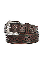 HOOey Men's Mahongany Wide Taper Bone Western Belt