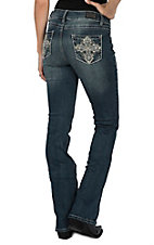 Wired Heart Women's Scallop Cross Open Pocket Boot Cut Jeans