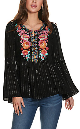 Savanna Jane Black with Floral Embroidery Long Sleeve Fashion Top