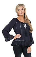 Onetheland Women's Navy Crochet with Lace Bell Sleeve Fashion Top