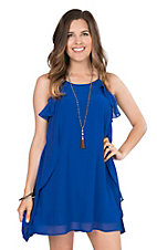 Hyfive Women's Royal Blue with Tulip Ruffles On Sides Sleeveless Dress