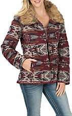 Cowgirl Legend Burgundy Multicolored Aztec Jacket