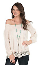 One The Land Women's Vanilla with Crochet Details and Elastic Neckline Long Cinched Sleeve Fashion Top
