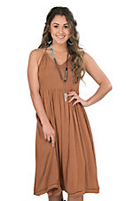 Onetheland Women's Brown Halter Dress