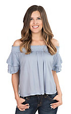 One The Land Women's Light Blue with Elastic Top and Ruffled Sleeve Fashion Top