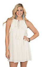 Onetheland Women's Vanilla Lace Front Dress
