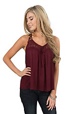 Onetheland Women's Maroon Crochet Detail Fashion Top