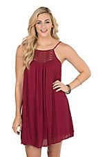 Onetheland Women's Maroon Crochet Detail Dress