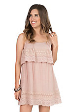 Hyfive Women's Blush with Crochet Detail on Ruffled Top Spaghetti Strap Dress