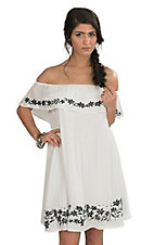 Onetheland Women's Off Shoulder White with Embroidery Dress