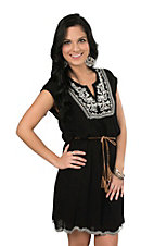 Onetheland Women's Black Sleeveless with Embroidery Yoke Dress