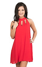 Hyfive Women's Red with Cut Out Details Sleeveless Dress