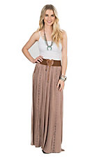 One The Land Women's Taupe with Crochet Details and Elastic Band Maxi Skirt