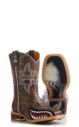 Tin Haul Kid's Sharky Man Eater Square Toe Boots