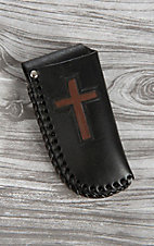 Nocona Black with Brown Cross and Lacing Knife Sheath