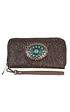 Justin Women's Brown Tool Concho Zip Wallet