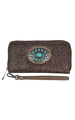 Justin Women's Brown Tool Concho Zip Wallet