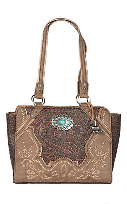 Justin Two Tone Brown Inlay Handbag