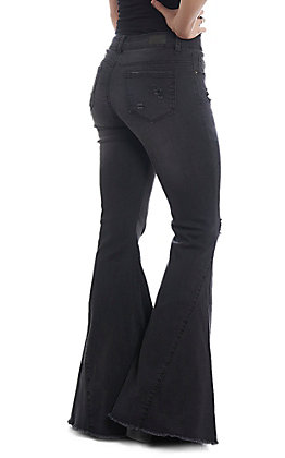 L&B Women's Black Bell Bottom Frayed Jeans