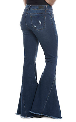L&B Women's Dark Wash Bell Bottom Frayed Jeans