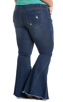 L&B Women's Dark Wash Bell Bottom Frayed Jeans - Plus Size