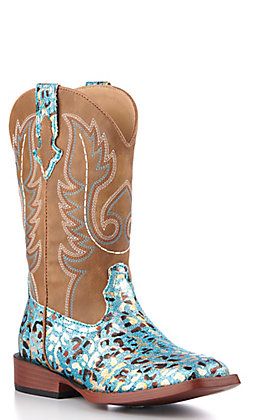 Roper Girls' Brown and Turquoise Leopard Square Toe Western Boots