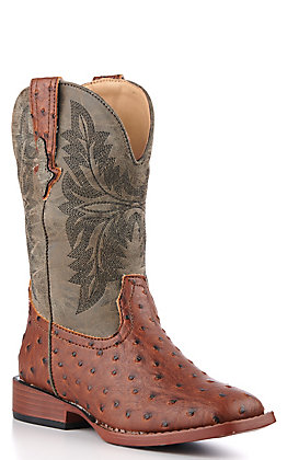 Roper Kids' Peanut Brittle Brown Ostrich Print and Green Square Toe Western Boots