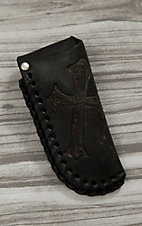 Nocona Black with Diagonal Cross Leather Knife Sheath