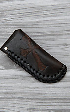 Nocona Black with Tooled Brown Cross Leather Knife Sheath